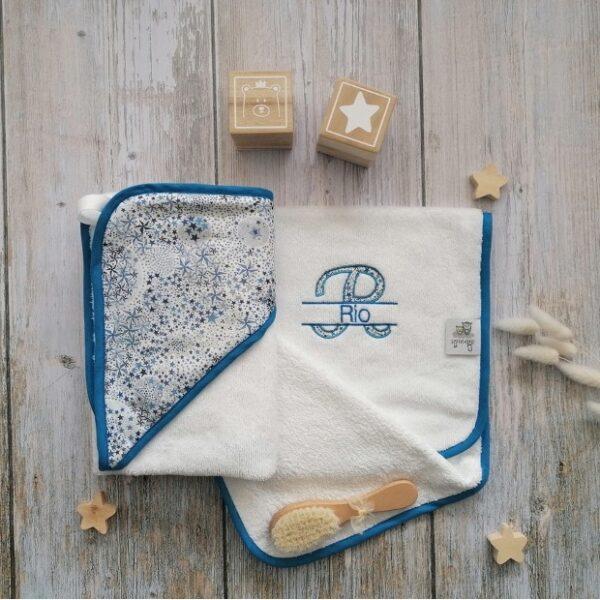 cape de bain personnalisée bébé en liberty éponge coton bambou