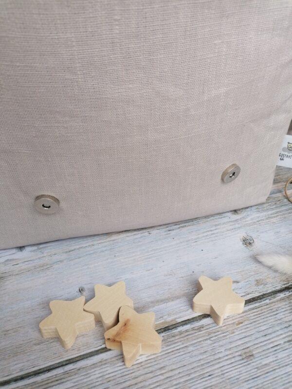cartable maternelle personnalisé en liberty et lin enduit vue sur fermeture boutons aimantés