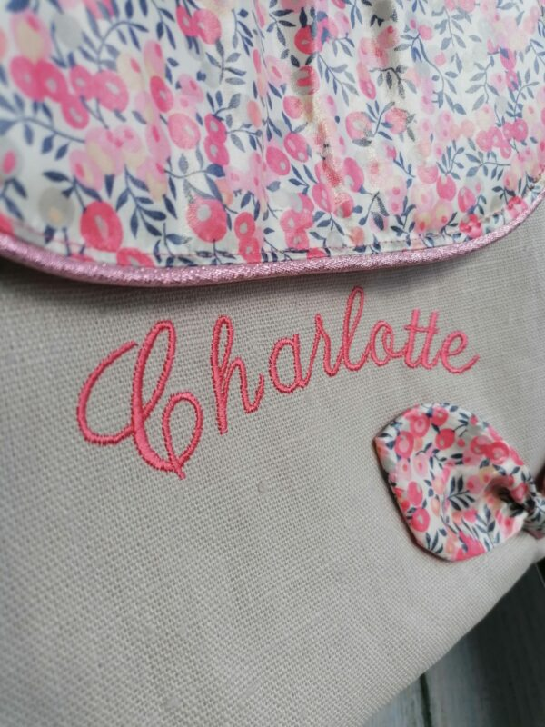 sac à dos maternelle personnalisé en liberty et lin imperméable