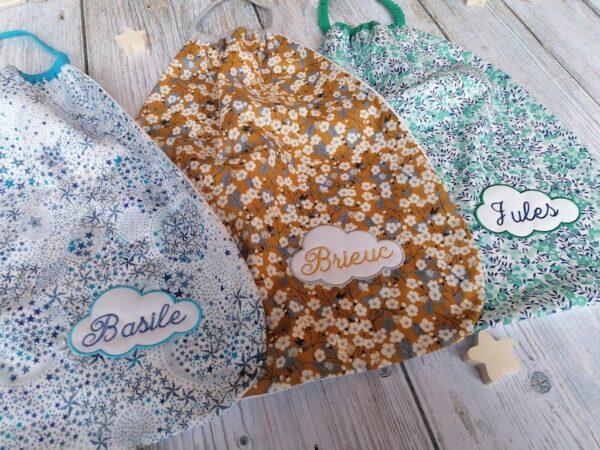 serviette de table enfant élastiquée et personnalisée en liberty et coton bio